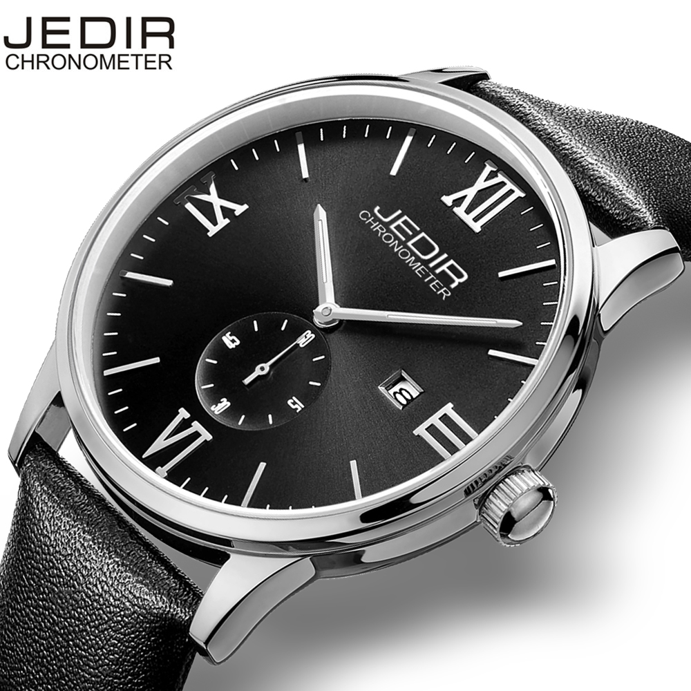 JEDIR Roma Number Nail Shape Scale Quartz Watch Men Movement Small Second Dial Calendar Buckle Hardlex Fashion Casual Men Watch jedir 3010 male quartz watch