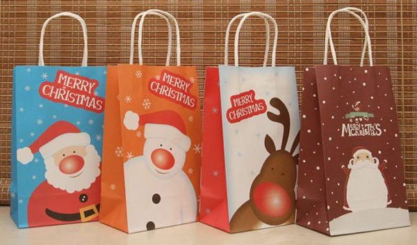 on sale 24x christmas candy cookie paper bags party favors package paper candy bag handbag craft paper handbag halloween gift ba in gift bags wrapping - Christmas Candy Bags