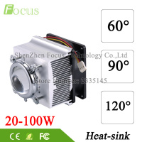 LED Heatsink Cooling Radiator 60 90 120 Degrees Lenes Reflector Bracket Fans For High Power 20