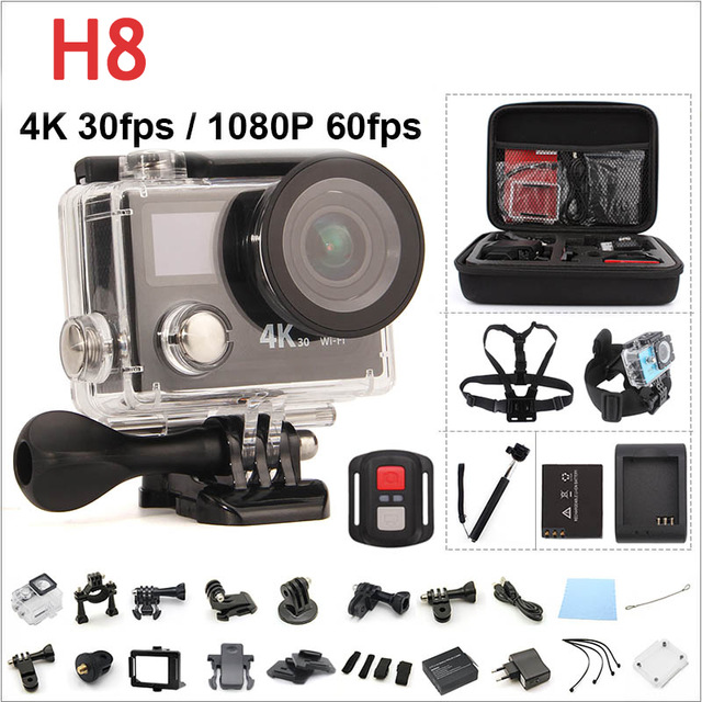 Action camera H8PRO Ultra HD Ambarella A12 4K 30fps / 1080P 120fps WiFi with remote 2.0'' 170D Dual Screen go sport cam h8 pro