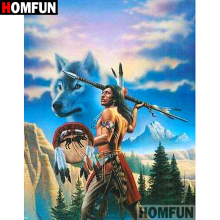 HOMFUN 5D DIY Diamond Painting Full Square/Round Drill Indian wolf Embroidery Cross Stitch gift Home Decor Gift A09123 homfun 5d diy diamond painting full square round drill indian wolf embroidery cross stitch gift home decor gift a09279