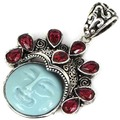 Awesome Moon Goddess Face, Rhodolite Garnet SheCrown Woman's   Silver Pendant 45x33mm