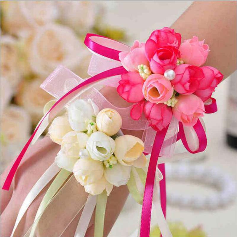 5pcs Wrist Flower Rose Silk Ribbon Bride Corsage Hand Flower Decorative Wristband Bracelet Bridesmaid Curtain Band Clip Bouquet Clothing, Shoes & Accessories