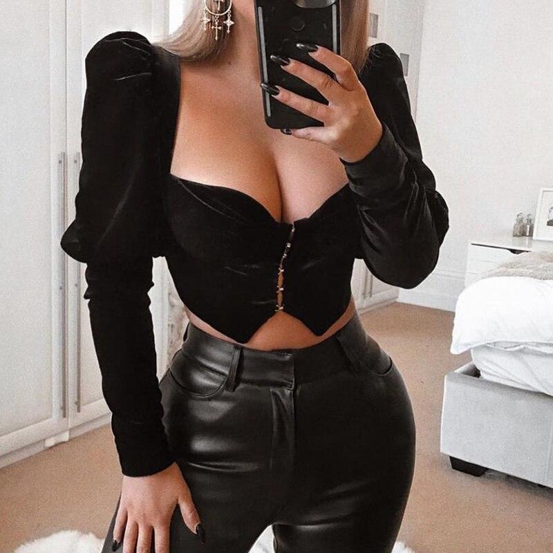 Cerf dame haut court femmes été 2019 nouveautés fête noir haut court velours haut sexy moulante Clubwear