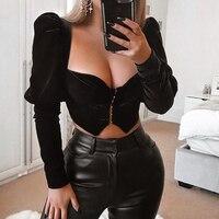 Deer Lady Crop Top Women Summer 2019 New Arrivals Party Black Crop Top Velvet Sexy Top Bodycon Clubwear