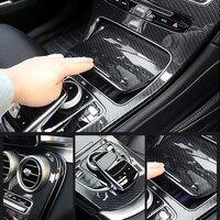 For Mercedes Benz C class W205 2015 2017/GLC X253 2016 2017 Center Console Panel Decoration Cover Trim Carbon fiber color 2pcs