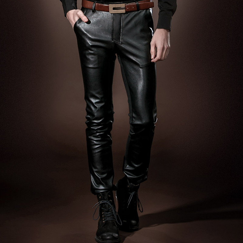 FANZHUAN Brands 2017 Fashion Elastic Faux Leather Pants Stage Winds Night Club Men Spliced Casual Skinny Pants PU Leather Pants