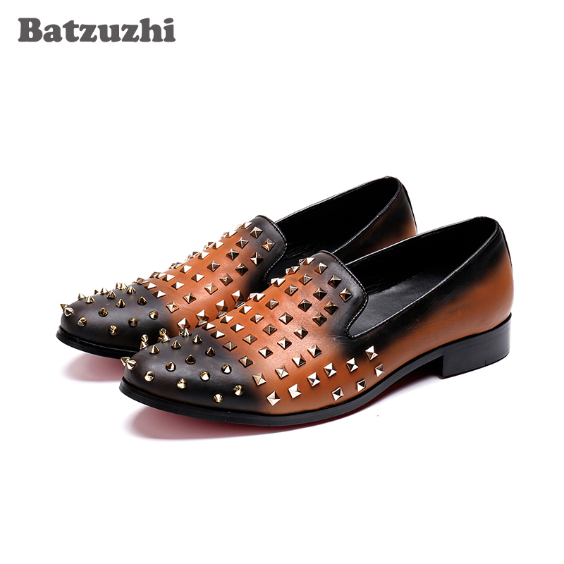 Batzuzhi Handmade Men Leather Shoes Casual Round Toe Rivets Loafers Flats Handmade Party Shoes Men, Big Sizes US6-12, EU38-46 new fashion gold snakeskin pattern loafers men handmade slip on leather shoes big sizes men s party and prom shoes casual flats