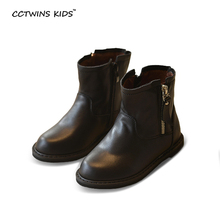 WENDYWU autumn winter black shoes children genuine leather boots for baby girls mid calf boots boys fashion black boots