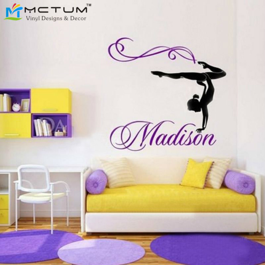 Wall Stickers custom Girl Gymnast Gymnastics Dance Nursery name decal decor III