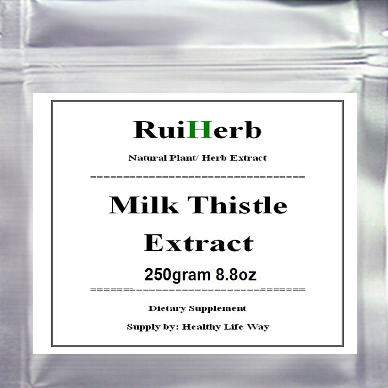 250gram 8.8oz Milk Thistle Extract (80%Silymarin) Powder For Liver Health free shipping bearded tooth mushroom extract powder capsules hericium erinaceus caps nutrition for stomach health care dietary supplements
