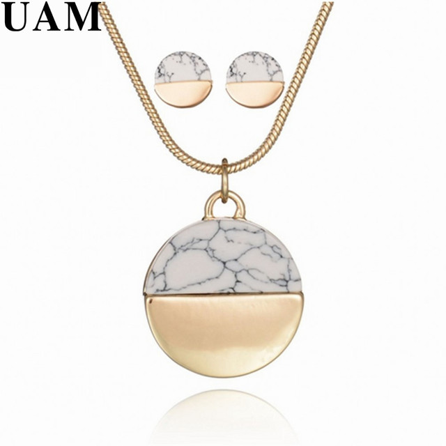 UAM Wedding Party Necklace Set Gold Color Chain Simple Round White