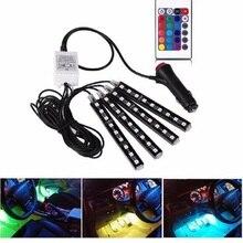 В 4 светодио дный шт. 12 В автомобиль RGB led DRL полосы света 5050SMD Авто пульт дистанционного управления декоративная гибкая светодиодная лента атмосфера лампа комплект противотуманных фар