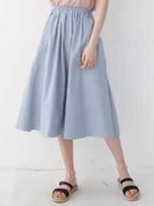 Midi Skirt A-Line Side-Pockets Ruched Elastic-Waist Women Female Casual Solid Empire