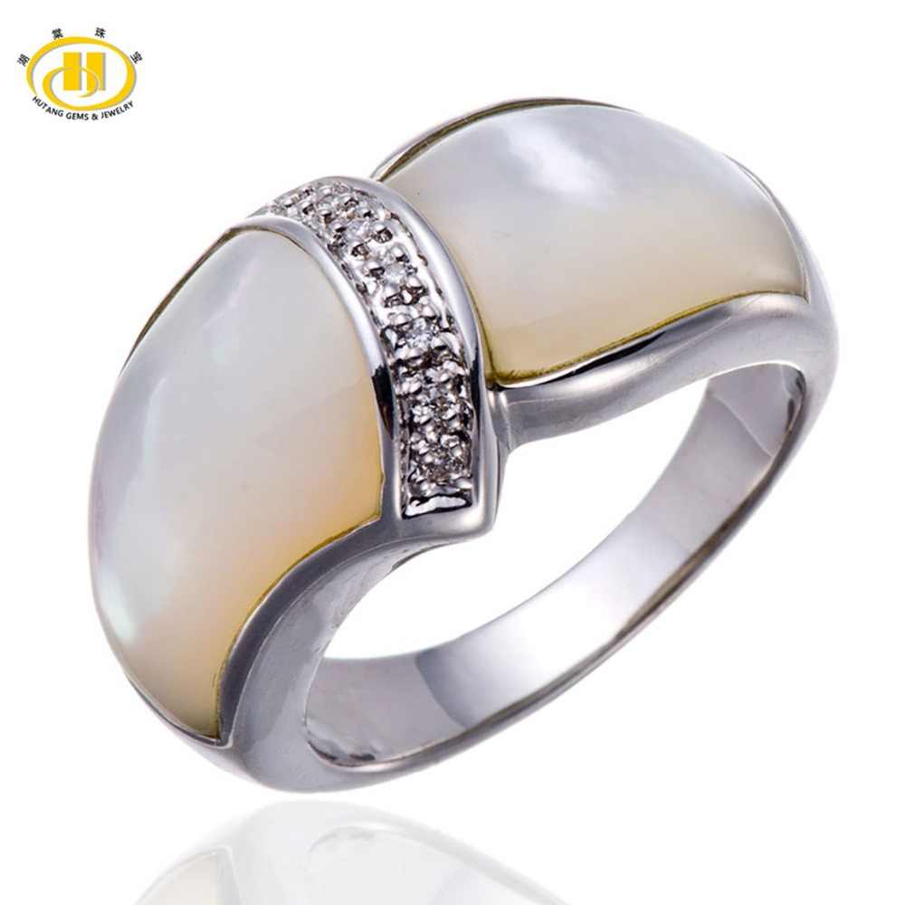 27fb03e82fdd40 Hutang Stone Jewelry Mother of Pearl Solid 925 Sterling Silver Rings Fine  Fashion Jewelry for Women