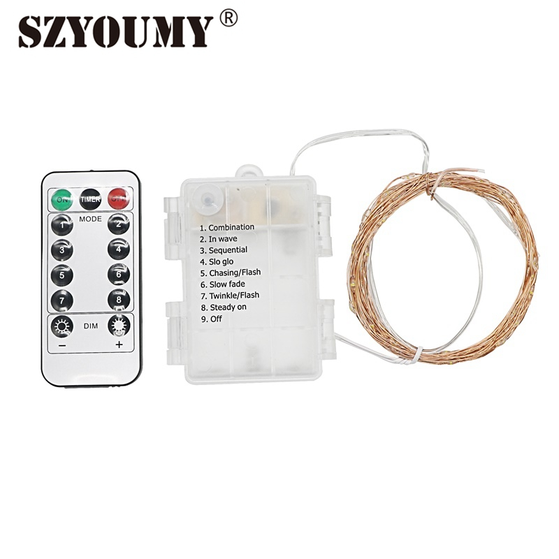 SZYOUMY Battery Powered 5M 10M LED Fairy String Light Silver Copper Wire Multi Color With 13