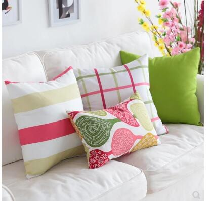 US $11.03 8% OFF|40/45/50/60cm large Simple modern sofa cushion cover Bed  plaid pillowcase pink cotton fabric lumbar pillow covers indoor-in Cushion  ...