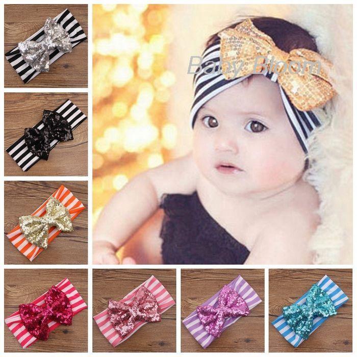 Gold Bow Baby Headband Sequin Bow Headband Infant Baby Hair Bow