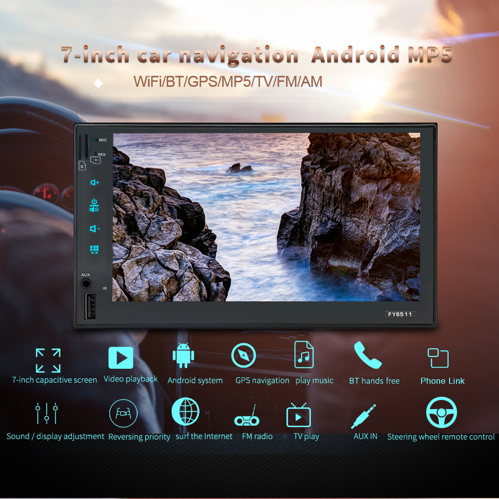 где купить Double 2 Din Smart Android 6.0 Car Stereo MP3 MP5 Multimedia Player 7'' 1080P Touch Screen GPS Navigation with Wi-Fi BT AM/FM дешево