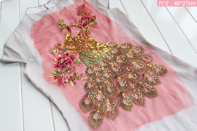 5Pcs 27 40CM Peacock Peony Sequin Embroidery Gauze Fabric Cloth Decorate Large Patch Applique Guipure African Lace Accessory Sew in Patches from Home Garden