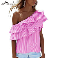 Avodovama M Women Elegant Stripe Blouse Shirt Fashion Slash Neck Skew Collar Ruffles Sexy Tops