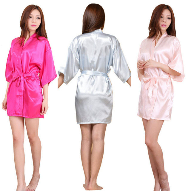 f740fb8e69 Plain Short Robes Sexy Women Bathrobe Bridesmaid Bride Satin Robes Silk  Kimono Robe Ladies Dressing Gowns