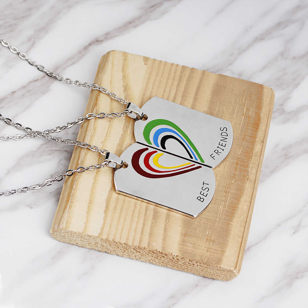 Moda feminina amizade criativa colar longa corrente dividir arco-íris forma coração pingente jóias