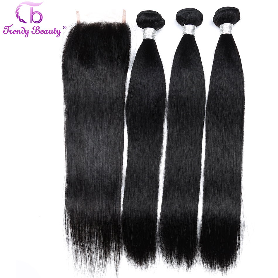 Trendy Beauty Malaysian Straight 100% Human Hair Extensions 3 Bundles with Closure Natural Color Can be Dye 8-28 Inches Non Remy
