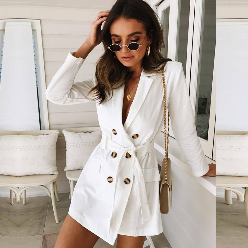 Spring Autumn Coats Women White Long Sleeve Lapel Slim Buttons Coat Windbreaker Sexy Pleated Work Office Lady Lace Up   Trench