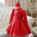 Детская Одежда Принцессы Девушки Осень С Длинными рукавами Китайский Вышивка Цветок Платье Платье Шоу Партия Детская Одежда Красный