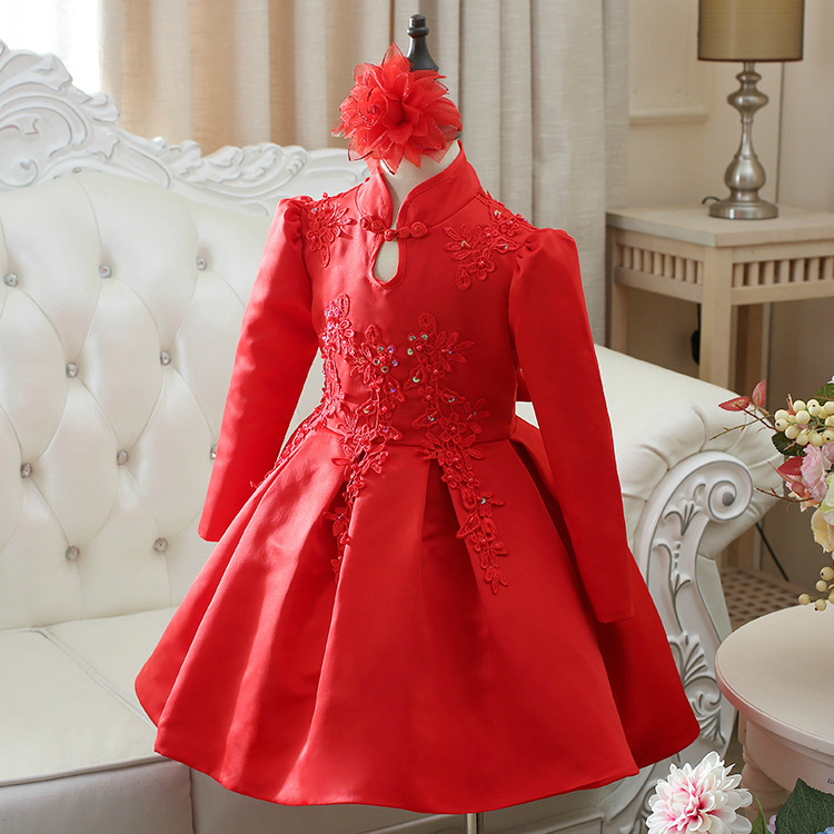 Children s Clothes Princess Girls Autumn Long sleeved Chinese Embroidery Flower Dress Gown Show Host Party
