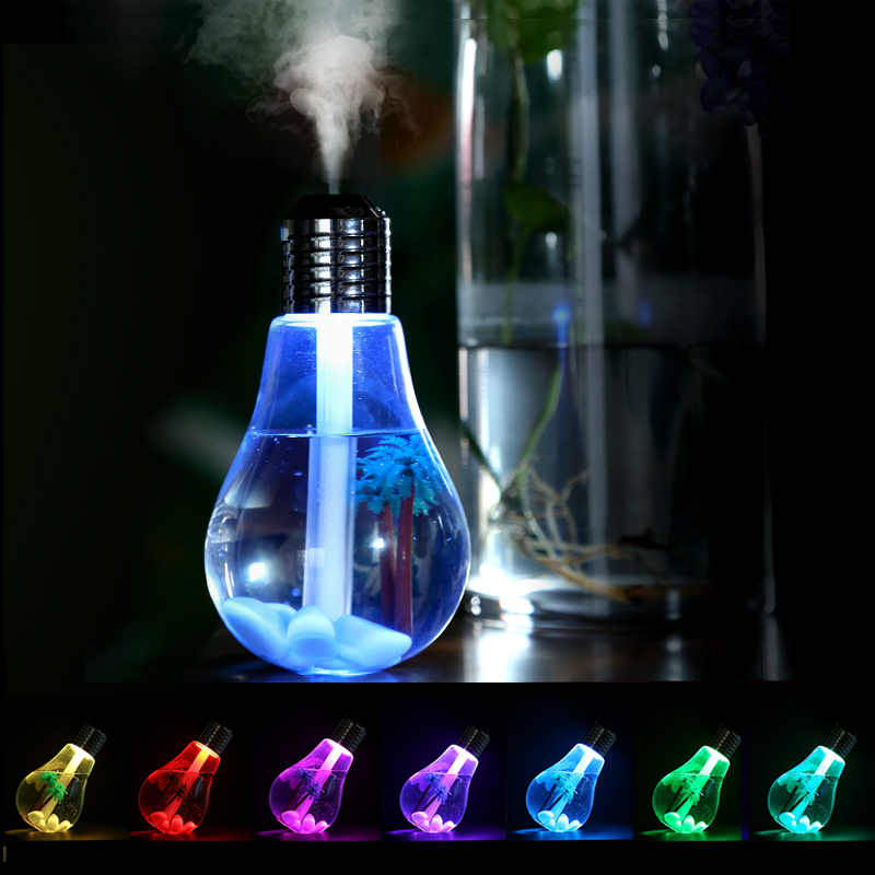 Colourful Light Bulb Air Humidifier With Micro-Landscape Ultrasonic Essential Oil Diffuser USB Power Mistmaker