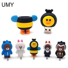 USB flash drive cartoon animals pen 4GB 8GB 16GB 32GB 64GB memory stick cute rabbit/bee/bear u lovely gift pendrive