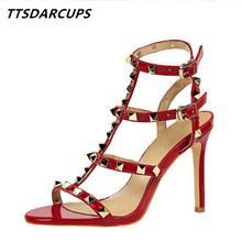 TTSDARCUPS New summer women shoes Star same style Rivet Ankle strap Sexy hollowed sandals with high heels Party