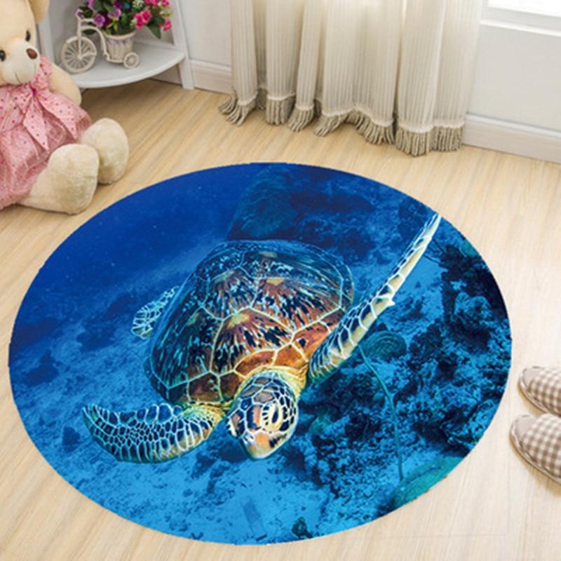 Sea Turtle Printed Round Rug And Carpet Coral Velvet