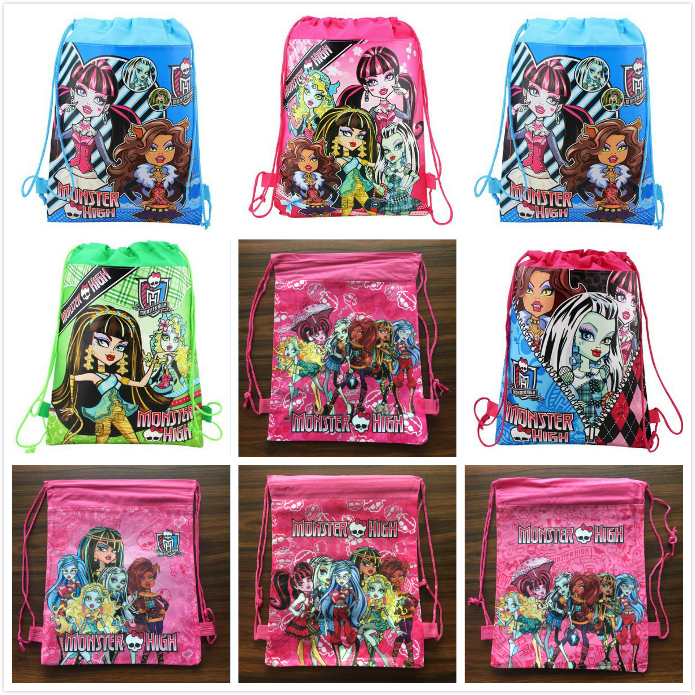 1pcs 36*25cm monster high theme non-woven bag fabrics drawstring backpack,schoolbag,shopping bag
