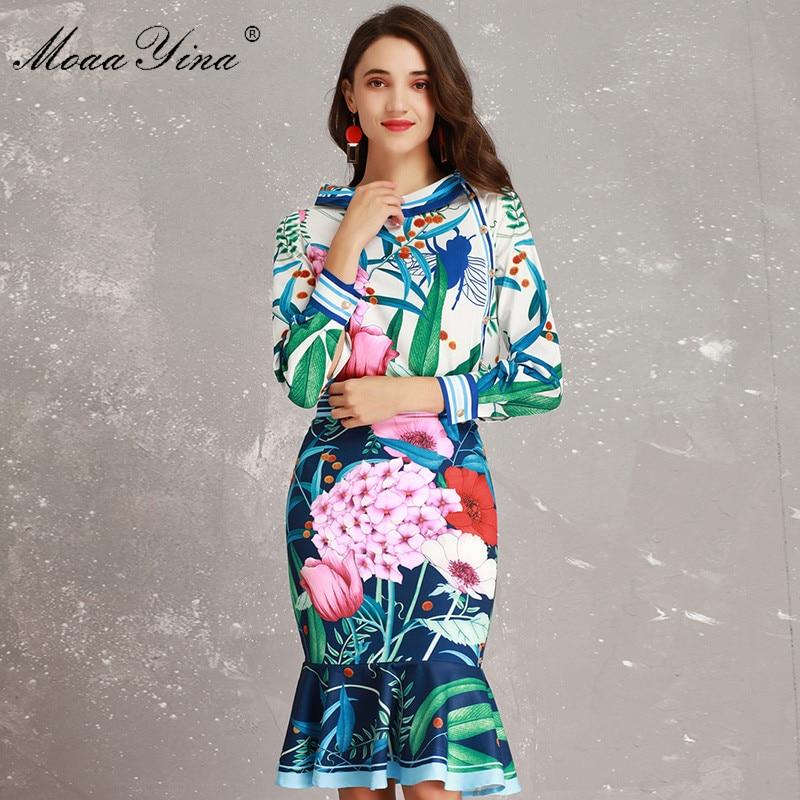 MoaaYina Fashion Designer Set Spring Women Long sleeve Peony Floral Print Elegant Blouse Packet hip Mermaid