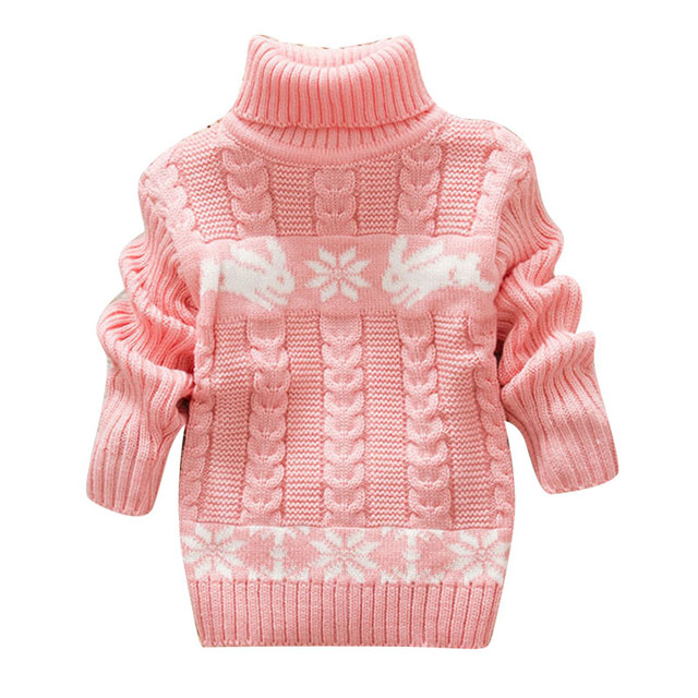 2017 girl turtleneck sweaters baby girls sweaters and pullovers winter kids pullover cartoon rabbit infant baby winter pullover