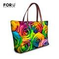 Brand Flower Rose Printed Women Handbags Large Capacity Shopping Shoulder Bags for Ladies Female Tote Designer Handbags Bolsas