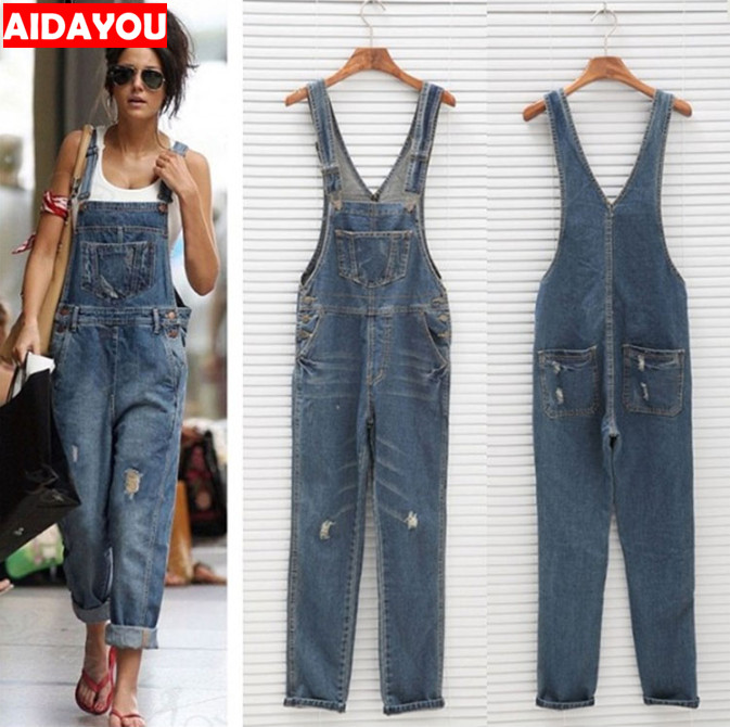 Womens Rompers Baggy Denim Ripped   Jeans   Full Length Pinafore Ladies High Waist   Jeans   and overalls ouc428