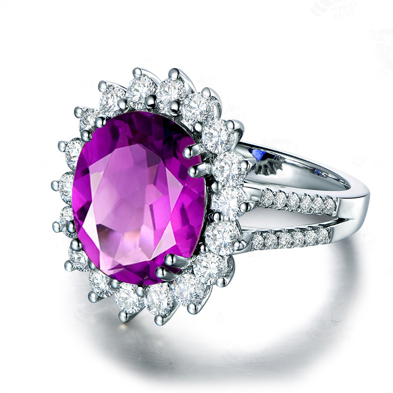 AINUOSHI duże naturalne ametyst kwiat pierścień 5 karatów szlifem w szlifie owalnym 925 Sterling srebrny pierścień biżuteria na przyjęcie zaręczynowe kobiety pierścień w Pierścionki od Biżuteria i akcesoria na  Grupa 3