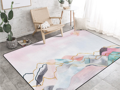Abstract Pink Carpet Ink Landscape Living Room Sofa New Chinese Modern Minimalist Bedroom Bedside Blanket