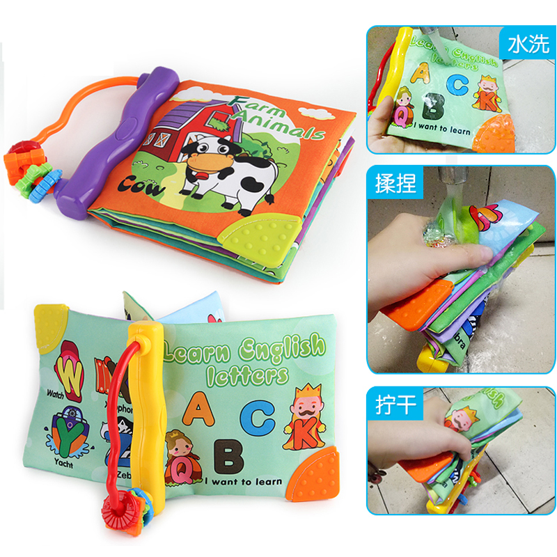 Baby Soft Cloth Books Washable Rustle Sound Hand Book With Teether Baby Early Education Puzzle Toy Learning English F