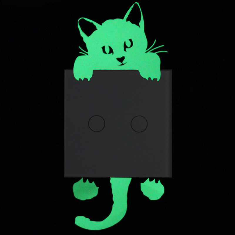 Lovely Cat Luminous Switch Sticker Modern Home Decor Cute Cartoon DIY Glow in Dark Wall Sticker Bedroom Livingroom Decoration
