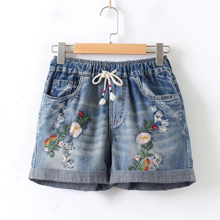 Summer Denim Shorts Female New  Loose Hole High Waisted Shorts Summer Rose Embroidery