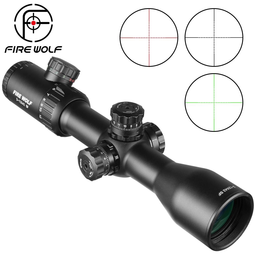 Fire Wolf 3-12X42 SF optique lunette de chasse avec rouge/vert Mil Dot rouge vert noir éclairement réticule portée Airsoft