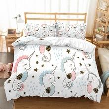 Cartoon Unicorn Rainbow Stars Love Print Girls Boys Bedding Set Microfiber Duvet Cover 2/3pcs Bed Linen with Pillowcase