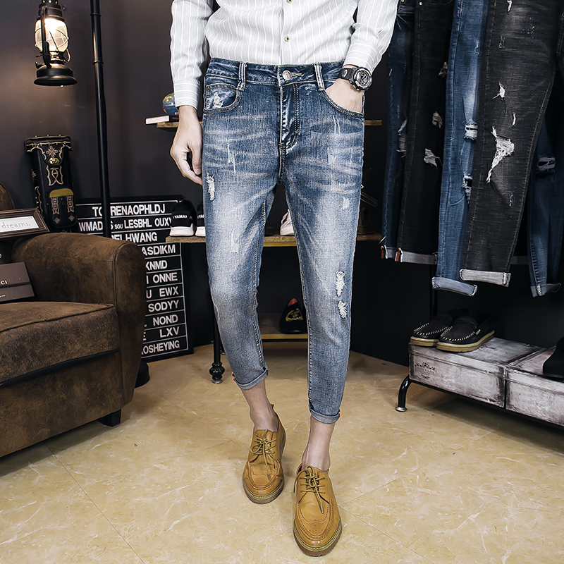 2018 Spring And Summer New Fashion Simple Wild Mens Pants Short Paragraph Youth Personality Casual Slim Solid Color Jeans Tide