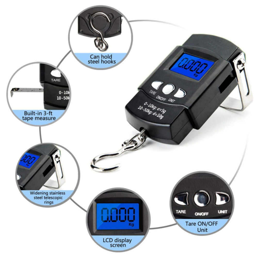 Portable Mini Hand Held digital Hanging Scale suitcase Travel bag Electronic Weighting Luggage Scale fish Hook Balance 50kg/10g