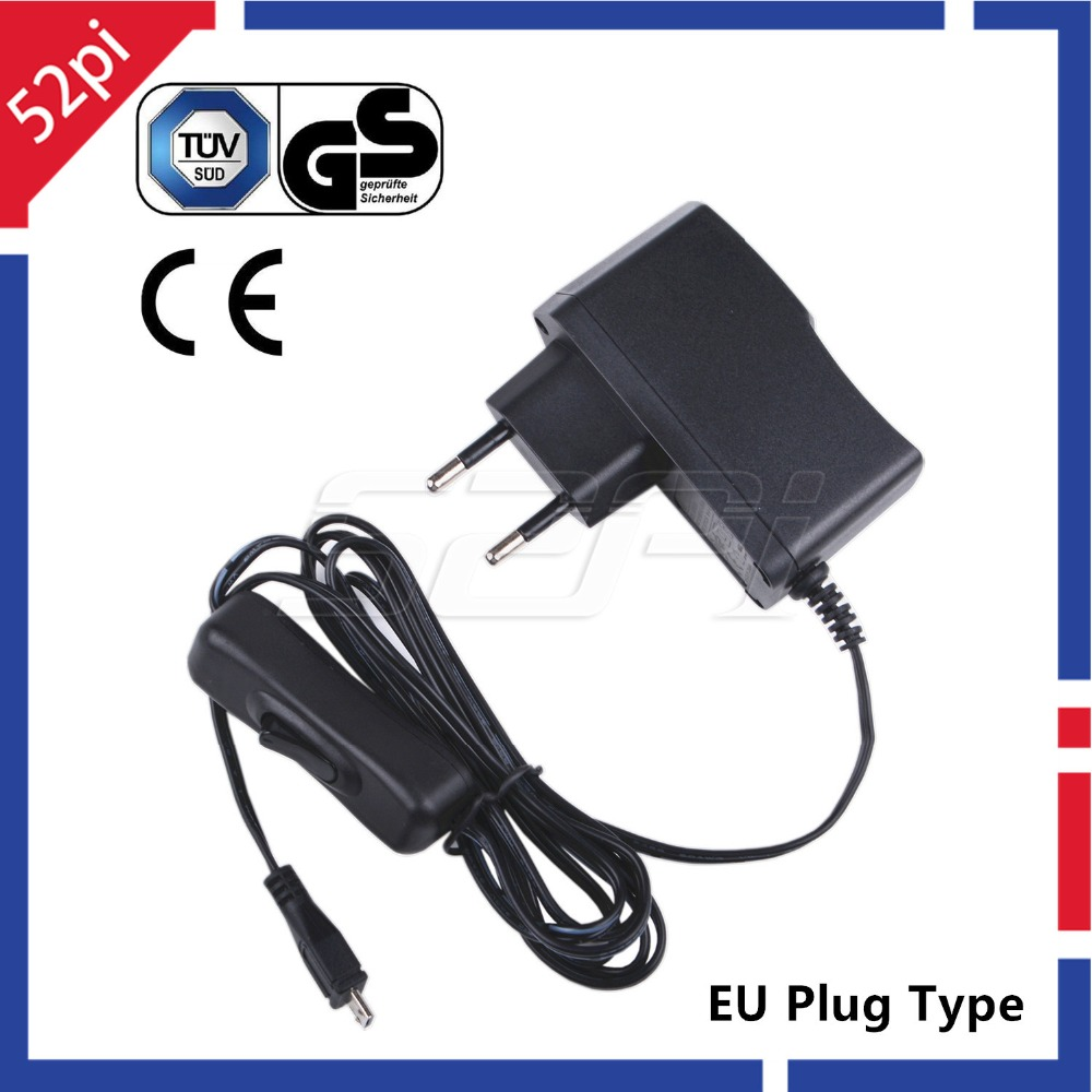 5V 2.5A Power Supply Adapter EU / US / UK Plug Charger With ON/OFF Switch Cable For Raspberry Pi 3 Model B / 3 B+, 3B Plus